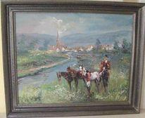 Landschaft mit reitern, Reiter, Reiterpicknik, Malerei
