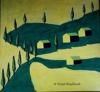 Toskana landschaft, Malerei, Italien, Grün