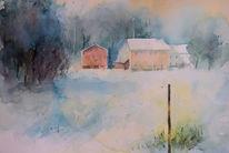 Winter, Aquarellmalerei, Aquarell