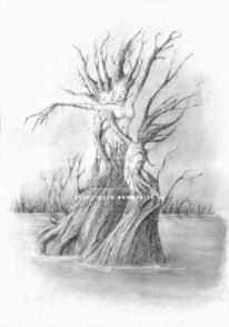 Weiblich, Ausstellung, Landschaft, Baum
