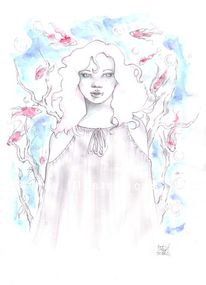 Aquarellmalerei, Weiblich, Bleistiftzeichnung, Fisch