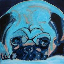 Blau, Mops, Malerei, Surreal