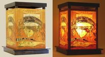 Lichtobjekt, Holzschnitt, Lampe, Grafik