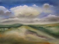Landschaft, Kreta, Senesi, Pastellmalerei