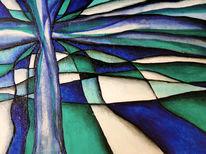 Grünblau, Abstrakt, Acrylmalerei, Malerei