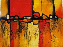 Abstrakt, Acrylmalerei, Roots, Verwurzeln