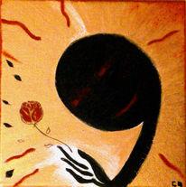 Geborgenheit, Rose, Innenleben, Malerei