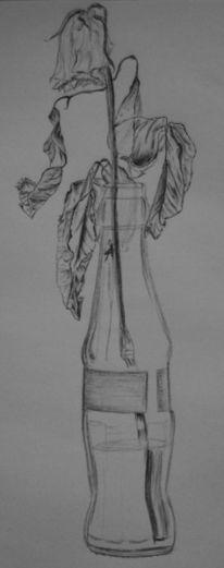Kummer, Flasche, Melancholie, Rose