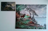 Wolken, Röhrender, Baum, Natur