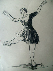 Kohlezeichnung, Skizze, Tanz, Ballett