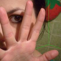 Gesicht, Hand, Augen, Portrait