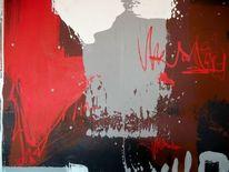 Modern, Rot, Acrylmalerei, Malerei