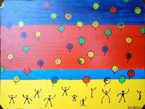 Luftballon, Steigen, Rot, Kinder