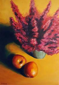 Stillleben, Apfel, Herbst, Ölmalerei