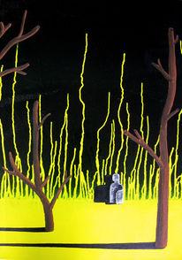 Schwarz, Surreal, Baum, Gelb