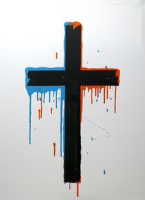 Kreuz, Orange, Abstrakt, Blau