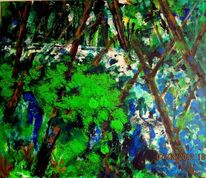 Baum, Wasser, Fluss, Malerei