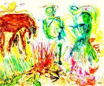 Feuer, Menschen, Esel, Malerei