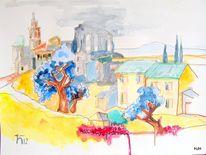 Baum, Kirche, Ruine, Malerei