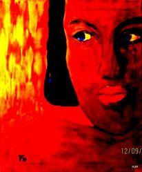 Feuer, Augen, Rot, Malerei