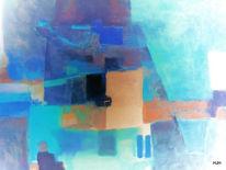 Feld, Dorf, Blau, Malerei