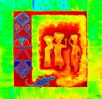 Frau, Afrika, Korb, Malerei
