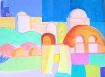 Fenster, Blau, Kuppel, Malerei