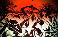 Tanz, Schwarz, Afrika, Malerei