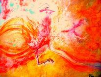 Feuerstuhl, Hahn, Rot, Malerei
