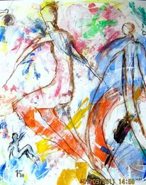 Menschen, Laufen, Farben, Malerei
