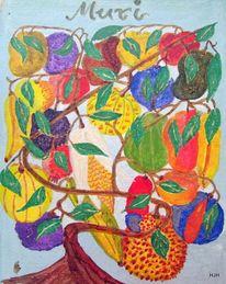 Obst, Früchte, Blätter, Malerei
