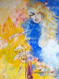 Traum, Wind, Frau, Malerei