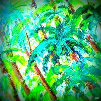 Regen, Wind, Palmen, Malerei