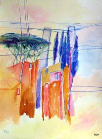 Pinie, Zypressen, Haus, Malerei
