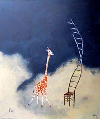 Giraffe, Tiere, Stuhl, Malerei