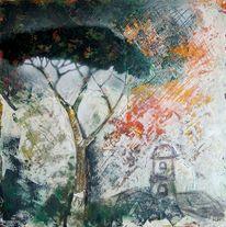 Kirche, Baum, Pinie, Malerei