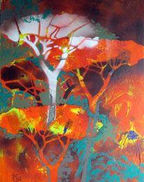 Baum, Licht, Wald, Malerei