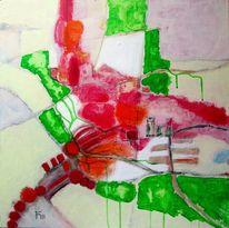 Grün, Park, Rot, Malerei