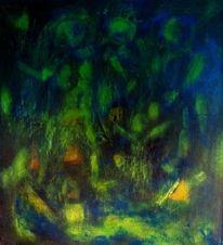 Nacht, Menschen, Blau, Malerei