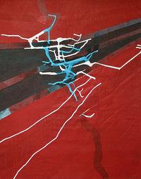 Baumwolle, Weiß, Rot schwarz, Acrylmalerei