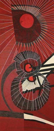 Kreis, Strahlen, Linie, Rot schwarz
