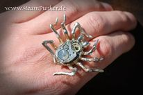 Schmuck, Spinne, Steampunk, Clockworker