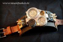 Steampunk, Uhr, Armbanduhr, Lederarmband