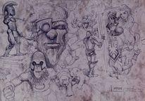 Malen, Skizze, Zeichnung, Schlacht