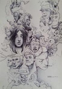 Zeichnung, Wand, Illustration, Zeichnungen