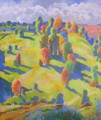 歐洲油畫, Ölmalerei, Mauer, Landschaft