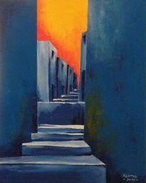 Modern, Acrylmalerei, Abendrot, Dorf