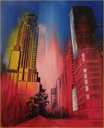 Architektur, Modern, New york, Acrylmalerei