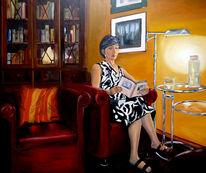 Interieur, Frau, Lampe, Lesen
