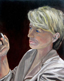 Holz, Ölmalerei, Weiblich, Zigarette